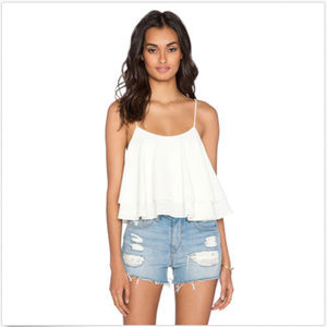 FREE PEOPLE CREAM TROPICAL WAVE CROP TANK TOP NWT